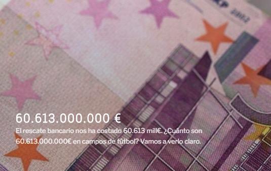 60613000000.es – Visualización del coste del dinero perdido en el rescate bancario